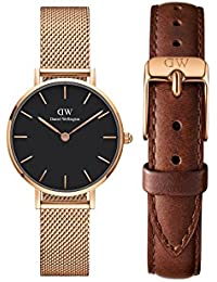 Daniel Wellington Classic Petite Melrose Analogue Black 28Mm & St. Mawes Strap 12Mm Combo For Women_Dw00500046