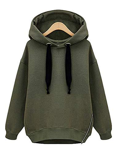 Vertvie Damen Gefüttert Kapuzenpullover Sweatshirt Hoodie mit Seitenverschluss Strickpullover Langarmshirt Bluse Jumper Hemd Pulli (XL, Grün)