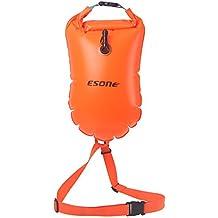 Boya de seguridad Esone, para natación con capacidad de 15 litros y bolsa seca, para nadadores de aguas abiertas, triatletas, kayakers y buceadores, para entrenamiento seguro de natación