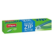 Alfapac - 20 Sacs Congélation Double Zip - 3l - Vegetal Origin - Sacs De Dimensions 27 X 27 Cm
