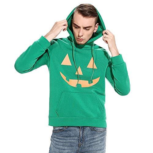 Pullover für Halloween, Männer Kürbis Drucken Sweatshirt Langarm Pulli Kapuzenpullover Outwear (L,Grün) ()