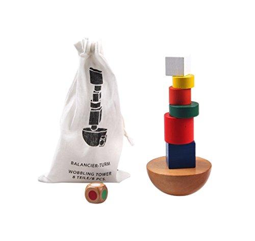 Montessori Spielzeug Turm aus Holz zum Stapeln & Balancieren von Blöcken in Bunt / Natur ab 3 Jahre für die frühe Geschicklichkeit Entwicklung Ihres Kindes