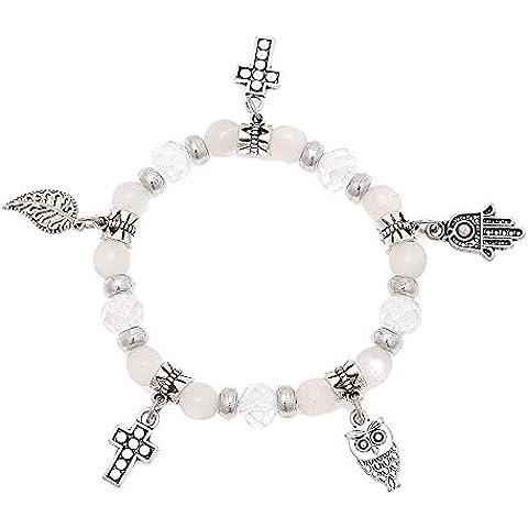Brass Charm braccialetto argento bianco cristallo pietra perline croce Khamsa fogli regolabile - Croce Ab Cristallo