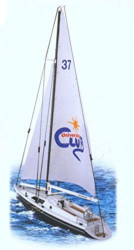 Hobby Engine HE0305 2.4G Premium Label University Club Yacht RC Segelboot, weiß/schwarz