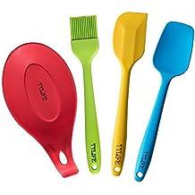 TTLIFE Conjunto de 4 piezas de Utensilios de cocina (Espátula, Espátula-Cuchara, Brocha, Soporte para cucharas (Cuchara de cocina)). Hechos de Silicona, Coloridos. [Clase de eficiencia energética A++](colorido )