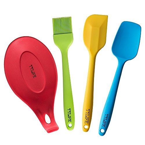 4-teilige Küchenhelfer Set Silikon - Pfannenwender, Schaumlöffel, Spachtel, Küchenpinsel(4-teilig Küchenhelfer Set, Bund) TTLIFE (Set 4-teilig)