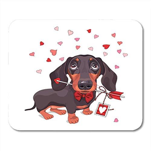 Gaming Mauspad Brown of Valentine Day Dachshund Dog in Bow Tie Love 11.8