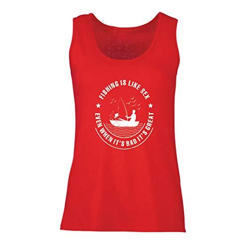 lepni.me Damen Tank-Top Fischen ist großartig, lustige Hobbykleidung für Fischliebhaber (XX-Large Rot Mehrfarben) (Top Der Besten 20 Halloween-filme)
