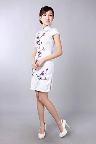 Smile YKK Femme Robe Courte Chinois Cheongsam Qipao Rétro Coton Fleur Blanc