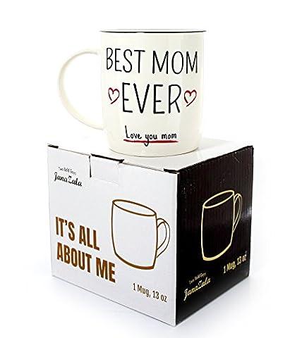 """Janazala Tasse Café Maman, """"Best Mom Ever"""", Cadeau Anniversaire Pour Meilleur Maman Du Monde, Best Mom, Femme, Fête Des Mères, Noël Pour Maman, Céramique Mug, 380 Ml"""