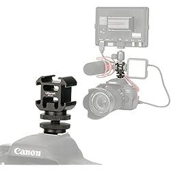 ULANZI Aluminium Triple Griffe Camera Adaptateur de Support vidéo Accessoire de Triple Chaussures Support pour Lampes LED, moniteurs, Microphones, enregistreur Audio et Flash de Studio Video Camera