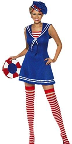 Faschingsfete Damen Matrosin Sailor Girl Kostüm, M, Blau