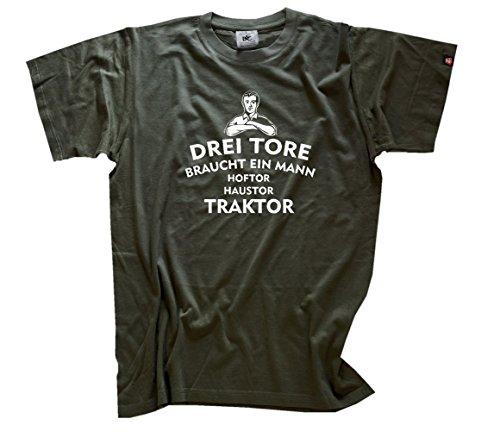 n Mann - Haustor Hoftor Traktor - Landwirt Bauer T-Shirt Olive L (Männer Bauer Shirt)
