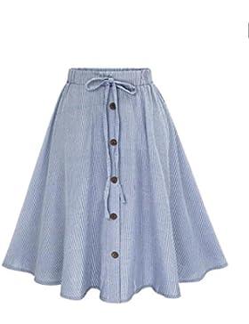 Lenfesh Mujeres Casual Midi Falda Plisada con Cintura Elástica Falda Larga de Azul Rayas con Botones