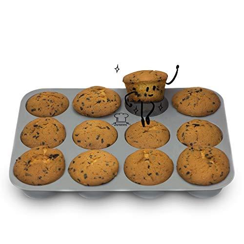 Backefix Muffinform 12er Muffinblech aus Silikon - Backform antihaftend & flexibel Ø 7cm Backblech für Muffins Silikon Cupcake