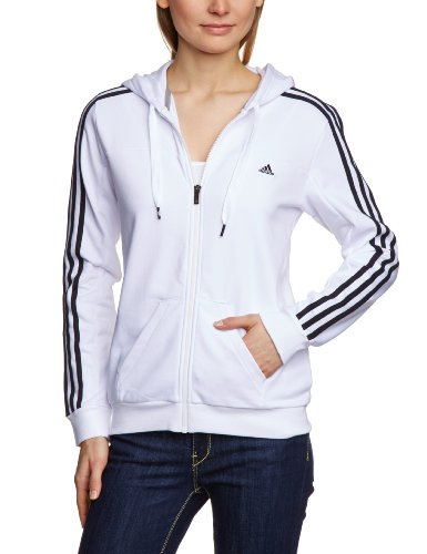 adidas Damen Kapuzenjacke Essentials 3S, White/Black, XL
