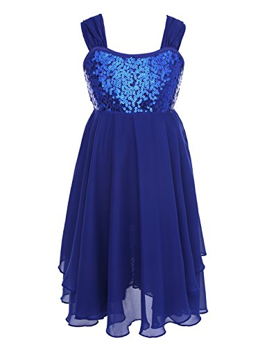 iiniim Girl's Lyrical Dress Sequins Bowknot Back Tank Top Irregular Skirt Latin Ballroom Dance Costume