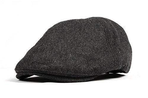 WITHMOONS Schlägermütze Golfermütze Schiebermütze Wool Newsboy Hat Flat Cap SL3021 (Charcoal) (Red Newsboy Cap)