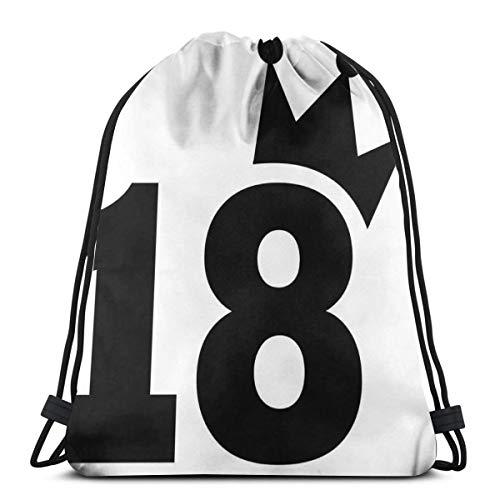 Juzijiang Drawstring Shoulder Backpack Travel Daypack Gym Bag Sport Yoga,Cartoon Soccer Jersey Seem Bold 18 Number Party Art Print,5 Liter Capacity,Adjustable. -