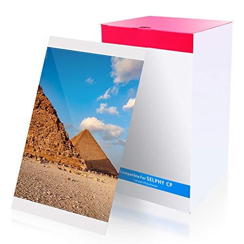 Compatibile con canon kp-108in carta fotografica, 100 x 148mm, selphy cartuccia e carta per canon selphy cp1200 cp1300 cp1000 cp910 cp900 (3 cartuccia a colore, 108 fogli di carta fotografica)