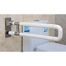 KHSKX Corrimano di nylon di barriere anti-batteri, corrimano per disabili per gli anziani, doccia WC bagno in acciaio inox pieghevole bracciolo , white - Bed Hardware Parti
