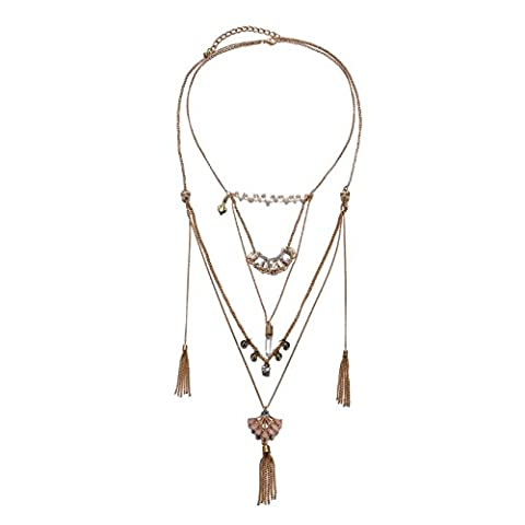 eManco Vintage Statement Long Layered Crystal Pendant Necklace for Women