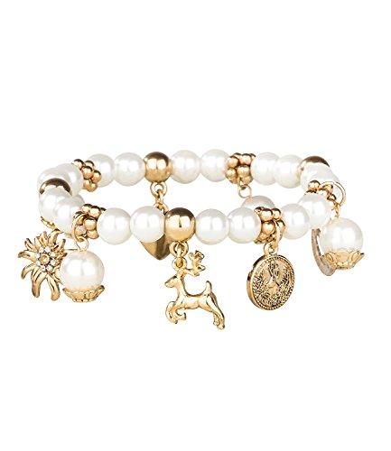 SIX Oktoberfest - elastisches Damen Bettel Armband, Perlen mit goldenen Anhängern, Brezel, Edelweiß, Herz, Hirsch, Münze, Weihnachten, Xmas (731-449)
