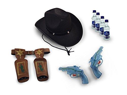 PARTY COWBOY SET mit WODKA GORBATSCHOW als Zielwasser COWBOYHUT WASSERPISTOLEN REVOLVER mit HOLSTERGÜRTEL für KARNEVAL FASCHING und sonstige FEIERN (Sherif Kostüme)