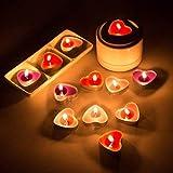 Ailiebhaus 50 Teelicht Set romantische Liebe Herz Form Pudding Rauchfreie Duft Kerzen Schwimmkerzen Rot - 4