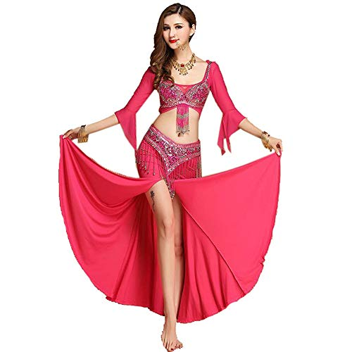Kostüm Indian Sexy Girl - CPH20 Fischschwanz Tanzkleid Perlen Sexy Indian Dance BH Set Bauchtanz Kostüm 3tlg Tanzfee, Tanzleben. (Farbe : Rosa, Größe : S)