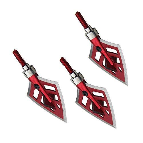3 Pack Broadheads 125/100 Korn Rot Jagd Pfeil Köpfe Bogenschießen Schießen 4 Blade -