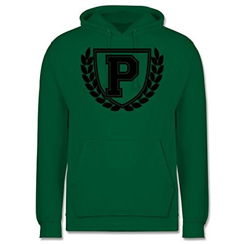 Anfangsbuchstaben - P Collegestyle - Männer Premium Kapuzenpullover / Hoodie Grün