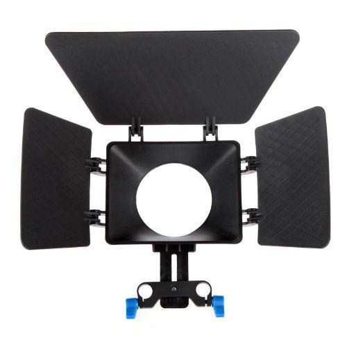 Andoer mattebox Matt Box Sonnenblende für 15mm Schienen-Rod-Unterstützung DSLR 5DII 60D 550D 600D D90 Genus Matte Box