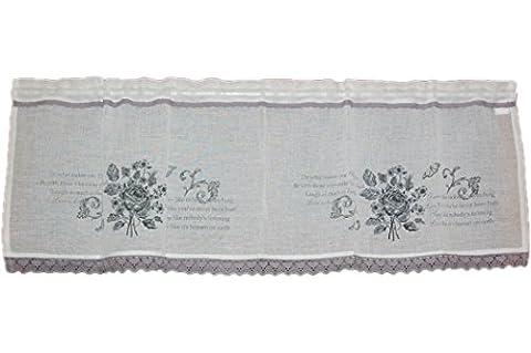 hübsche Gardine 40x120 cm PANNEAUX romantisch mediterran LANDHAUSstil weiß Rosen hellgrau Spitzengardine