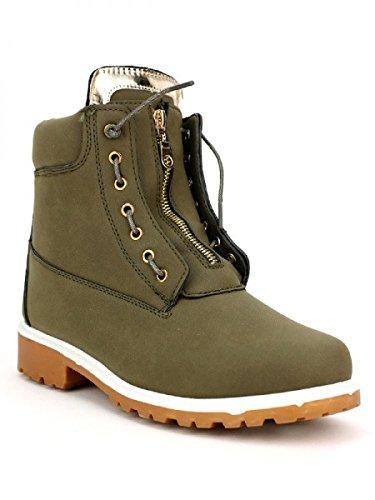 Cendriyon, Boots CAMPER'S Kaki Zip Chaussures Femme Kaki