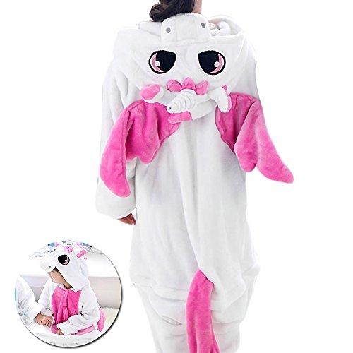 Einhorn Pyjama Mädchen Schlafanzug Jumpsuit Tier Karton Cosplay Fasching Nachtwäsche für Weihnachten Unisex (Rosa, M)