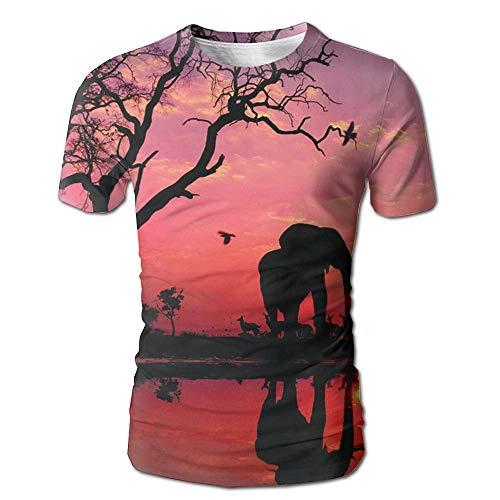 Camiseta con Estampado Completo en 3D de los Hombres del Elefante Camisetas de Manga Corta Casuales XL