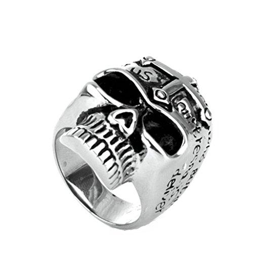 Anyeda Ring Herren Kreuzschädel Skull Ring Edelstahl Silber Ringgröße 60 (19.1) (Gothic Skull Armband Und Nägel)