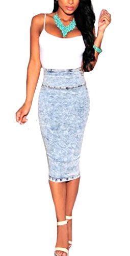 CuteRose Women's Sexy Classic Casual Wild Skinny A-Line Pencil Denim Skirt XS As Picture
