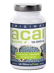 Acai Beere 12000 mg - 360 Acai Beeren Kapseln Plus Vitamin C, Hochdosiertes Acai Berry Pulver - Made in Germany