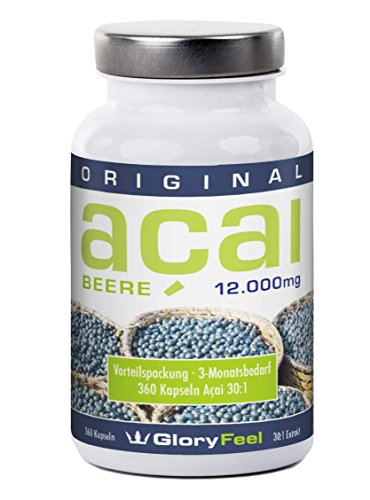 Acai Beere 12000 mg - 360 Acai Beeren Kapseln Plus Vitamin C, Hochdosiertes Acai Berry Pulver - Made in Germany (Vitamin C In Fisch)