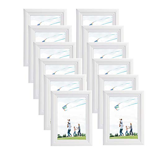 ilderrahmen 12 Stück Fotorahmen Dekorahmen zum Aufhängen oder Aufstellen aus Massivholz Glasschiebe 10x15 bis 30x40cm Weiß ()