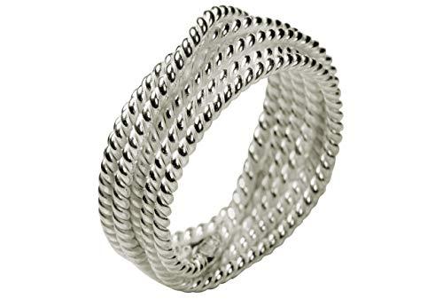 SILBERMOOS XL XXL Ringe in großen Größen Damenring Wickelring handgeschmiedet matt glänzend Größe 64, 66, 68, 70 Sterling Silber 925, Größe:70 (22.3)