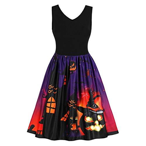 VICGREY Fashion✿Vestito Donna Elegante Donne Senza Maniche Vintage Zucche Halloween Sera Prom Costume Swing Abito,Abito 50 Anni Hepburn Mini Abiti