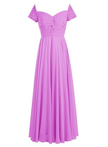 Bbonlinedress Robe de cérémonie Robe de demoiselle d'honneur en mousseline forme empire longueur ras du sol Lilas