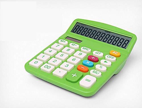 Taschenrechner Desktop-Finanzrechner Kunststoffknopf Solar Dual Energy 12-Stelliges Display Rechner FüR Den Wechselkurs Des BüRos (grün)
