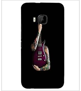 PrintDhaba Guitar D-5531 Back Case Cover for HTC ONE M9 (Multi-Coloured)