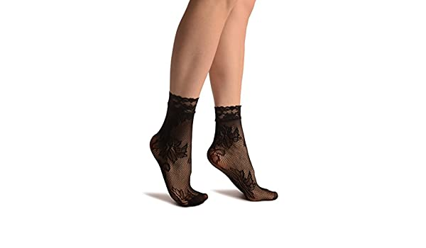 SA002973 Orchid and Peony Flowers Black Lace Socks Ankle High