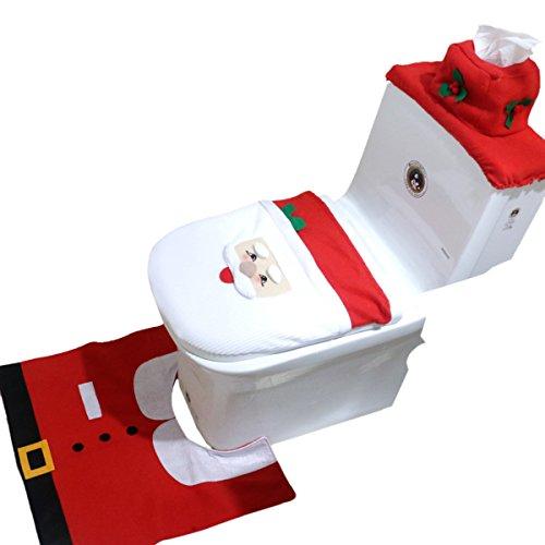 THEE 3pcs Toilet Set Decoración Baño Navidad Funda