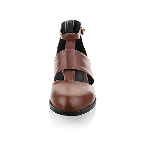 Cuckoo Low Heels brevet synthétique Sandale en cuir Chaussures Femmes Marron